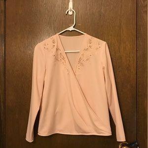 Faux wrap nude pink blouse w/ lace details size S